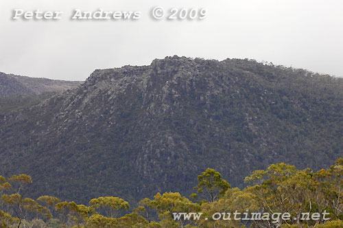 Part of the Mawson Plateau from Wombat Moor, Mt Field National Park. Photo copyright Peter Andrews.