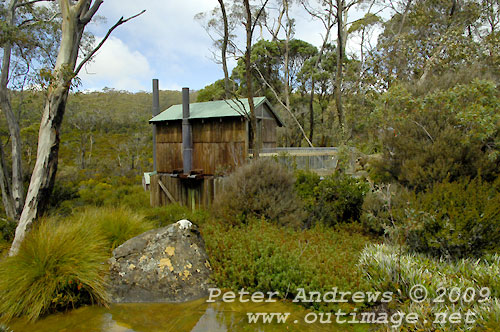 The Government (basic accomodation) Huts' toilet, Mt Field National Park. Photo copyright Peter Andrews.
