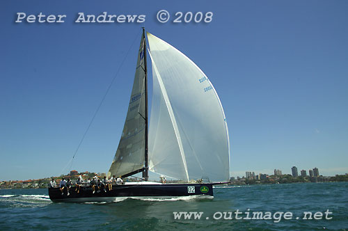 Bob Steel's TP52 Quest on Sydney Harbour during the SOLAS Big Boat Challenge, a lead-up race to the Rolex Sydney Hobart Yacht Race 2008. Photo copyright Peter Andrews.