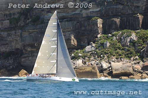 Stephen Ainsworth's Reichel Pugh 62 Loki, seen here in under North Head during the 2008 Rolex Trophy Ratings Series. Photo copyright Peter Andrews.