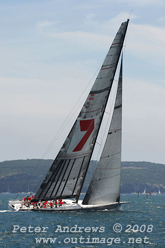 Bob Oatley's Wild Oats XI, skippered by Mark Richards, in Sydney Harbour ahead of the start of the Rolex Sydney Hobart Yacht Race 2008. Photo copyright Peter Andrews.