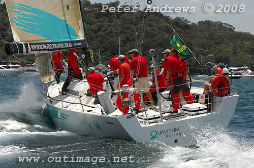 Ray Roberts' Cookson 50 Quantum Racing, just before the start on Sydney Harbour, of the Rolex Sydney Hobart Yacht Race 2008. Photo copyright Peter Andrews.