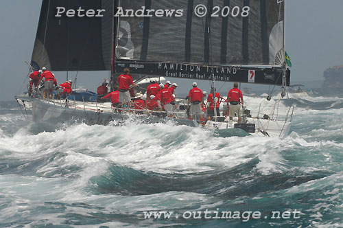 Bob Oatley's Wild Oats, outside the heads after the start of the Rolex Sydney Hobart Yacht Race 2008. Photo copyright Peter Andrews.