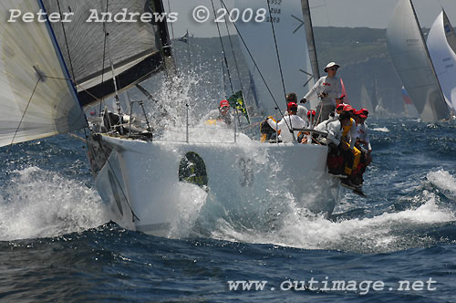 Geoff Ross' Reichel Pugh 55 Yendys, outside the heads after the start of the Rolex Sydney Hobart Yacht Race 2008. Photo copyright Peter Andrews.