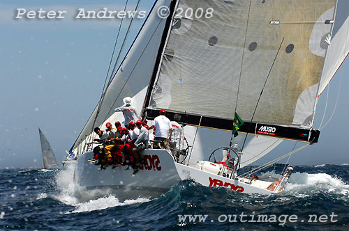 Geoff Ross' Reichel Pugh Yendys, outside the heads after the start of the Rolex Sydney Hobart Yacht Race 2008. Photo copyright Peter Andrews.