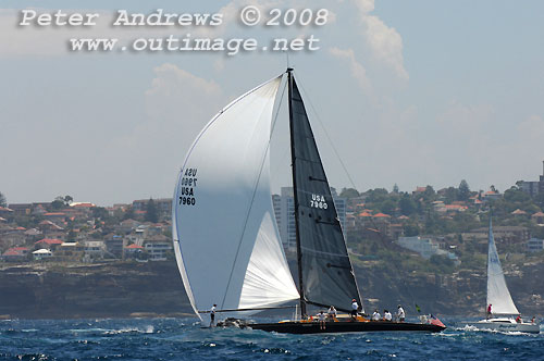 Chris Welsh and the Ragtime LLC's Spencer 65, Ragtime, outside Sydney Heads after the start of the Rolex Sydney Hobart Yacht Race 2008. Photo copyright Peter Andrews.