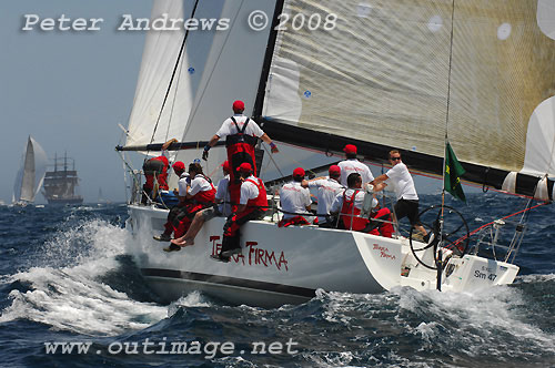 Nicholas Bartels' Sydney 47 Terra Firma, outside the heads after the start of the Rolex Sydney Hobart Yacht Race 2008. Photo copyright Peter Andrews.