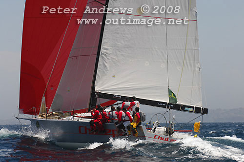 Bruce Taylor's Reichel Pugh Chutzpah from the Royal Yacht Club of Victoria, outside the heads just after the start of the Rolex Sydney Hobart Yacht Race 2008. Photo copyright Peter Andrews.