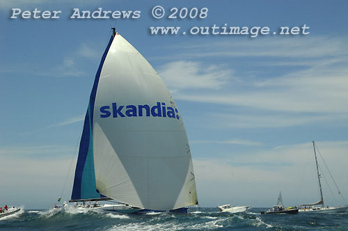 Grant Wharington's Skandia, outside the heads after the start of the Rolex Sydney Hobart Yacht Race 2008. Photo copyright Peter Andrews.