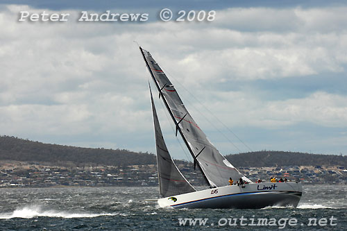 Alan Brierty's Reichel Pugh 62 Limit, aproaching the Hobart finishing line for the Rolex Sydney Hobart Yacht Race. Photo copyright Peter Andrews.