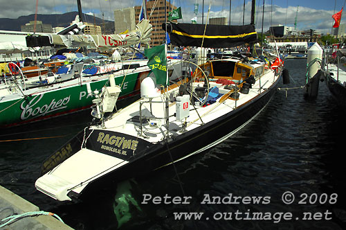 Chris Welsh and the Ragtime LLC's Spencer 65, Ragtime, dockside in Kings Pier Marina, Hobart, after completing the Rolex Sydney Hobart Yacht Race 2008. Photo copyright Peter Andrews.