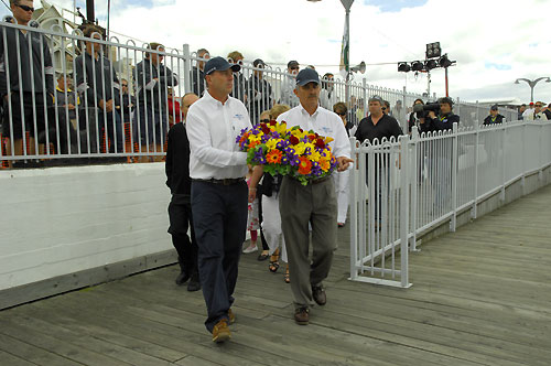 Commodores Matt Allen (CYCA) & Clive Simpson (RYCT) with the wreath to pay tribute to the six sailors who had lost their lives during the Sydney to Hobart ocean racing classic in 1998. Photo copyright Peter Andrews.