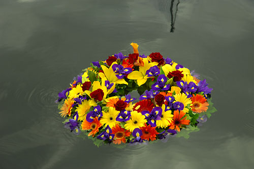 The commemorative wreath in the water at Hobart's Dock. Photo copyright Peter Andrews.