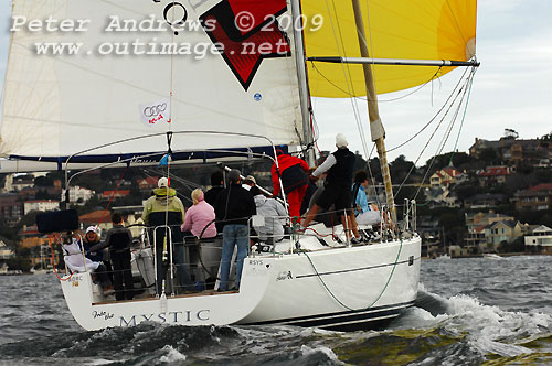 Arthur Psaltis and Jon Ross' Into the Mystic finished third in Division C during Race 11 of the Audi Winter Series on Sydney Harbour. Photo copyright Peter Andrews.