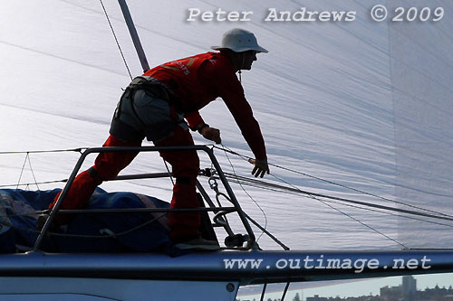 The bowman onboard Robert Oatley's Reichel Pugh 66 Wild Oats X. Wild Oats claimed line honours in the Audi Sydney Gold Coast Yacht Race 2009. Photo copyright Peter Andrews.