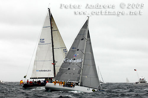 Warren Buchan's Sayer 45 Colortile, outside the heads after the start of the Rolex Sydney Hobart Yacht Race 2009. Photo copyright Peter Andrews, Outimage.