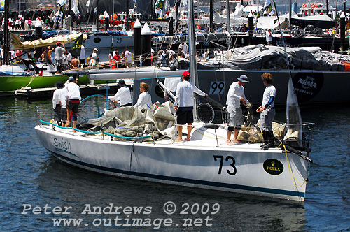 Steve Proud's Sydney 38 Swish, arriving at Hobart's Kings Pier Marina after finishing the Rolex Sydney Hobart Yacht Race 2009. Photo copyright Peter Andrews, Outimage.