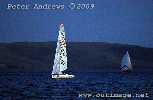 One could only imagine the frustration on board Krakatoa II, standing still and watching three other boats closing in from behind and being so close to the finishing line. Photo copyright Peter Andrews, Outimage.