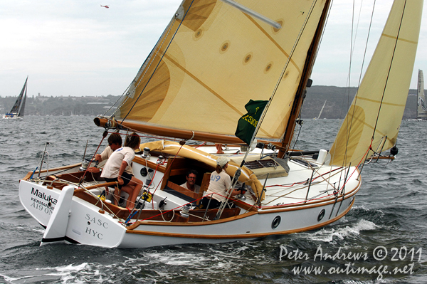 Peter Langman's 1932 Ranger Maluka of Kermandie, on Sydney Harbour ahead of the start of the 2011 Rolex Sydney Hobart Yacht Race. Photo copyright Peter Andrews, Outimage Australia.