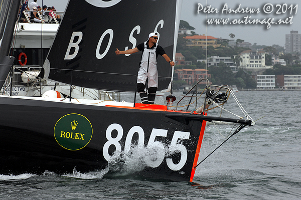 The bowman guiding Alex Thomson's IMOCA 60 yacht Hugo Boss on Sydney Harbour, ahead of the start of the 2011 Rolex Sydney Hobart Yacht Race. Photo copyright Peter Andrews, Outimage Australia.