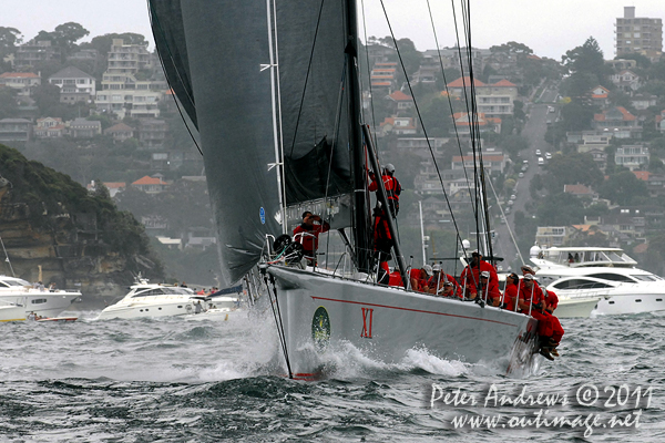 Bob Oatley's Wild Oats XI, on Sydney Harbour after the start of the 2011 Rolex Sydney Hobart Yacht Race. Photo copyright Peter Andrews, Outimage Australia.