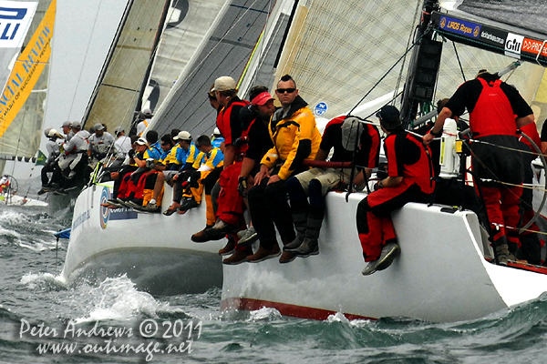 Out on the rail to Hobart as the fleet leaves Sydney Harbour and enters the Tasman Sea, after the start of the 2011 Rolex Sydney Hobart Yacht Race. Photo copyright Peter Andrews, Outimage Australia.