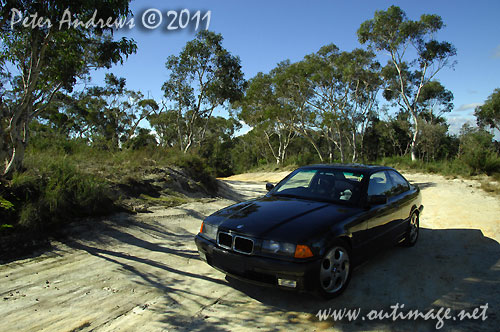 The car used for this road trip, a 1994 BMW 318is, seen here on a side track in the Blue Mountains, NSW Australia. Stopped here to get photos of Mt Banks and the Grose Valley, from the Bells Line of Road. Photo copyright Peter Andrews, Outimage Australia.