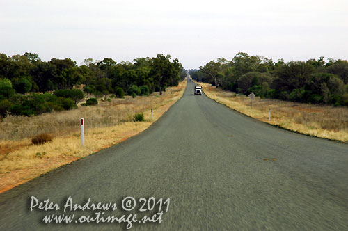 The Barrier Highway between Nyngan to Cobar, NSW Australia. Photo copyright Peter Andrews, Outimage Australia.