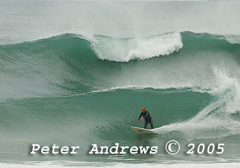 A rare wavebreak at back of Towradgi Pool, NSW Australia, July 12, 2005.