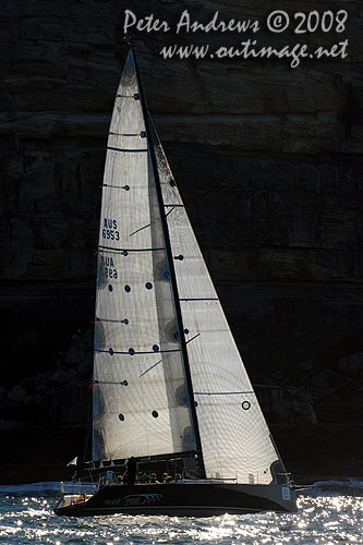 Graeme Wood's Judel Vrolijk designed 52 footer Wot Yot in the shadow of North Head, just after the start of the Sydney to Gold Coast Race 2008. Photo Copyright Peter Andrews.