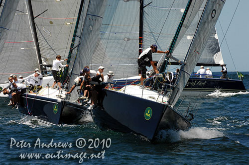 Lang Walker's Kokomo (AUS) ahead of Martin and Lisa Hill's Estate Master (AUS) with Jim Richardson's Barking Mad in the background, during the 2010 Rolex Trophy One Design Series, offshore Sydney. Photo copyright Peter Andrews, Outimage Australia.
