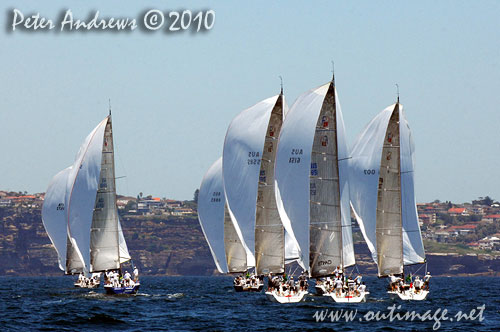 The Farr 40 fleet under spinnaker, during the 2010 Rolex Trophy One Design Series, offshore Sydney. Photo copyright Peter Andrews, Outimage Australia.