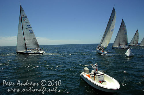 The starting line, during the 2010 Rolex Trophy One Design Series, offshore Sydney. Photo copyright Peter Andrews, Outimage Australia.