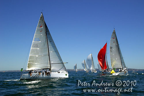 The Farr 40 fleet commencing a spinnaker run from the top mark, during the 2010 Rolex Trophy One Design Series, offshore Sydney. Photo copyright Peter Andrews, Outimage Australia.