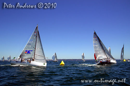 Guido Belgiorno-Nettis' Transfusion (AUS) chasing Andrew Hunn's Tasmanian entry, Voodoo Chile (AUS) around the top mark, during the 2010 Rolex Trophy One Design Series, offshore Sydney. Photo copyright Peter Andrews, Outimage Australia.