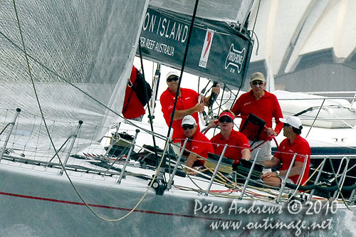 Bob Oatley at the helm of his Supermaxi Wild Oats XI, during the SOLAS Big Boat Challenge 2010 on Sydney Harbour. Photo copyright Peter Andrews, Outimage Australia.