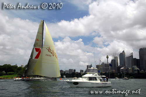 Bob Oatley's Supermaxi Wild Oats XI taking out line honours in the SOLAS Big Boat Challenge 2010 on Sydney Harbour. Photo copyright Peter Andrews, Outimage Australia.