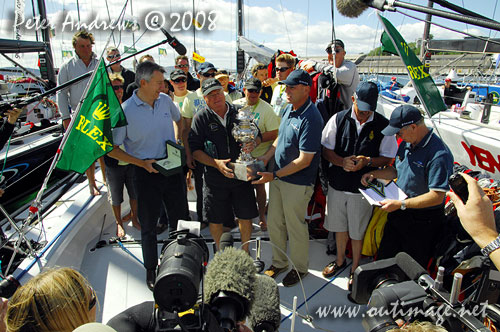 Bob Steel holding the Tattersalls Cup after his overall win of the Rolex Sydney Hobart with Quest in 2008. Photo copyright Peter Andrews, Outimage Australia.
