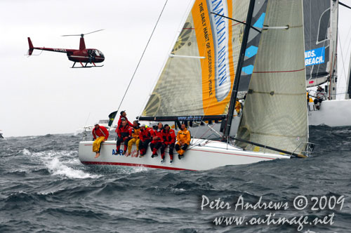 Ed Psaltis' former overall winner AFR Midnight Rambler, offshore Sydney after the start of the Rolex Sydney Hobart 2009. Photo copyright Peter Andrews, Outimage Australia.