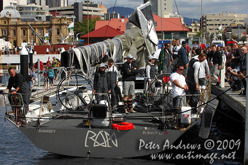 Catherine and Niklas Zennström onboard Rán, when they arrived in Hobart to complete the Rolex Sydney Hobart 2009. Photo copyright Peter Andrews, Outimage Australia.