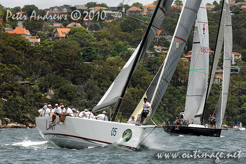 Alan Brierty's Reichel Pugh 62 Limit and Bob Steel's TP52 Quest, during the SOLAS Big Boat Challenge 2010 on Sydney Harbour. Photo copyright Peter Andrews, Outimage Australia.