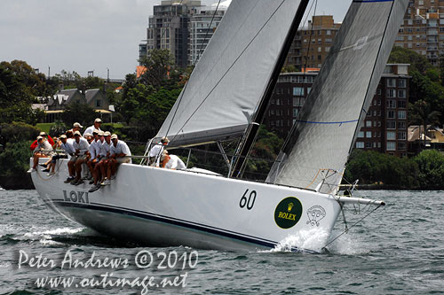 Stephen Ainsworth's Reichel Pugh 63 Loki, during the SOLAS Big Boat Challenge 2010 on Sydney Harbour. Photo copyright Peter Andrews, Outimage Australia.
