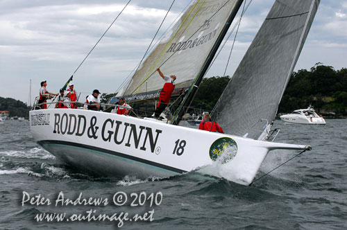 Bill Wild's Reichel Pugh 55 Rod & Gunn Wedgetail from Queensland, ahead of the start of the Rolex Sydney Hobart 2010. Photo copyright Peter Andrews, Outimage Australia.