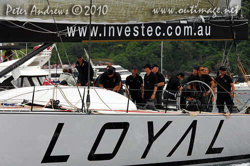 Sean Langman and Anthony Bell's Investec Loyal, ahead of the start of the 2010 Rolex Sydney Hobart Yacht Race. Photo copyright Peter Andrews, Outimage Australia.