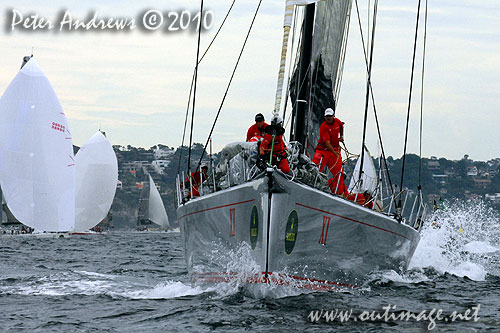 Bob Oatley's 100 footer Wild Oats XI, after rounding the seaward mark and well on the way to Hobart, during the 2010 Rolex Sydney Hobart Yacht Race. Photo copyright Peter Andrews, Outimage Australia.
