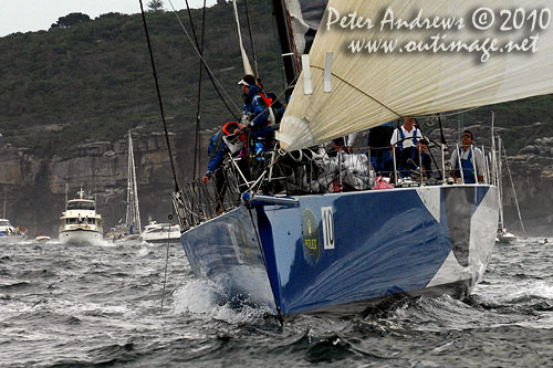 Grant Wharington's Maxi Wild Thing outside the heads after the start of the Rolex Sydney Hobart 2010. Photo copyright Peter Andrews, Outimage Australia.
