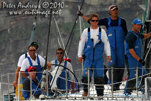 Grant Wharington and crew onboard the Maxi Wild Thing, outside the heads after the start of the Rolex Sydney Hobart 2010. Photo copyright Peter Andrews, Outimage Australia.