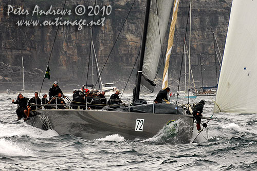 Niklas Zennström's Rán, outside the heads after the start of the Rolex Sydney Hobart 2010. Photo copyright Peter Andrews, Outimage Australia.