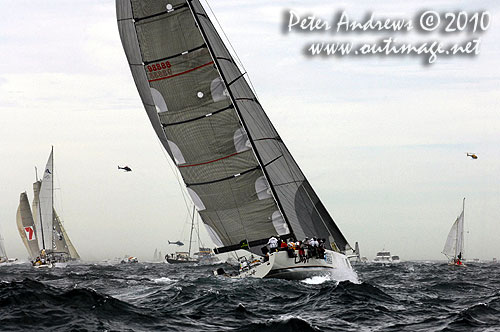 Alan Brierty's Reichel Pugh 62 Limit offshore Sydney and chasing the leaders after the start of the 2010 Rolex Sydney Hobart Yacht Race. Photo copyright Peter Andrews, Outimage Australia.