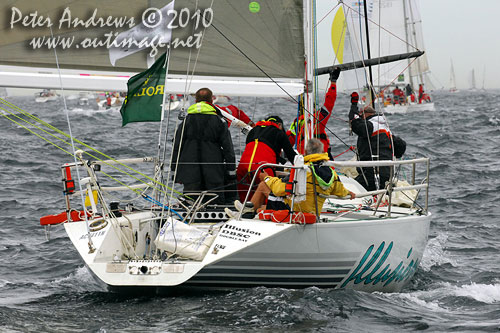 Jonathan Stone's Davidson 34 Illusion, outside the heads after the start of the Rolex Sydney Hobart 2010. Photo copyright Peter Andrews, Outimage Australia.